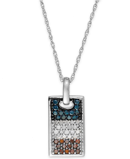 Macy's Diamond Flag Dog Tag Pendant Necklace in Sterling Silver (1/2 ct. t.w.)