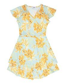 Big Girls Floral Mock Surplus Dress