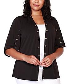 Black Label Plus Size Embellished 3/4 Sleeve Cardigan
