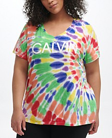 Plus Size Tie-Dyed Logo T-Shirt