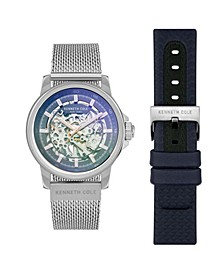 Men's Automatic Two Tone Blue Stainless Steel Mesh And Genuine Leather Strap Watch Set 44mm
