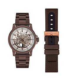 Men's Automatic Brown Stainless Steel Bracelet And Genuine Leather Strap Watch Set 44mm
