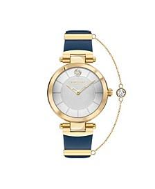 Women's 2 Hands Blue Genuine Leather Strap Watch 34mm