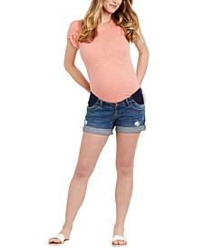 Side-Panel Ripped Denim Maternity Shorts