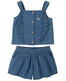 Little Girls Denim Ruffle Trim Top and Flare Shorts Set