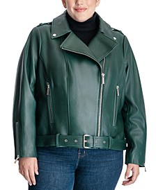 Plus Size Leather Moto Coat, Created for Macy's
