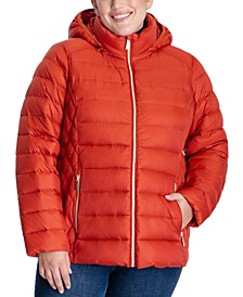 Plus Size Hooded Down Puffer Coat, Created for Macy's