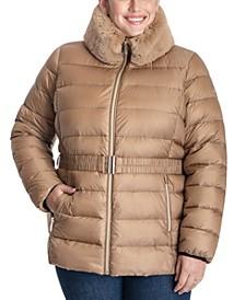Plus Size Faux-Fur-Collar Puffer Coat