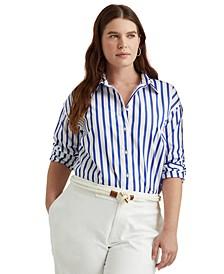 Plus-Size Striped Cotton Broadcloth Shirt