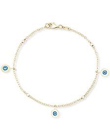 Enamel Evil Eye Charm Bracelet in 10k Gold