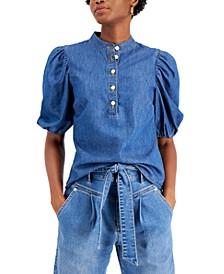 Denim Puff-Sleeve Top, Created for Macy's