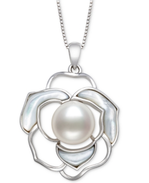 """Cultured Freshwater Pearl (10mm) & Mother-of-Pearl Flower 18"""" Pendant Necklace in Sterling Silver"""
