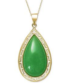 """Dyed Jade Greek Key Framed 18"""" Pendant Necklace in 10k Gold"""