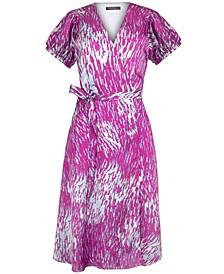 Printed V-Neck Wrap Midi Dress
