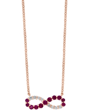 """Ruby (1/3 ct. t.w.) & Diamond (1/8 ct. t.w.) Infinity 18"""" Pendant Necklace in 14k Rose Gold"""