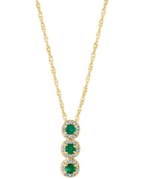 """Emerald (1/6 ct. t.w.) & Diamond (1/10 ct. t.w.) Triple Halo 18"""" Pendant Necklace in 14k Gold"""