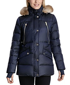 Petite Faux-Fur-Trim Hooded Puffer Coat, Created for Macy's