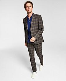 Men's Slim-Fit Brown/Blue Plaid Suit Separates, Created for Macy's