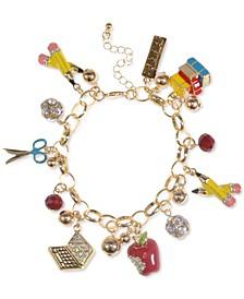 Gold-Tone Crystal School-Motif Charm Bracelet, Created for Macy's