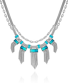 Silver-tone And Blue Ombre Stone Double Row Statement Necklace