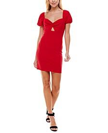 Juniors' Sweetheart Puff-Sleeve Bodycon Dress