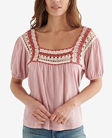 Cotton Crochet-Neck Top