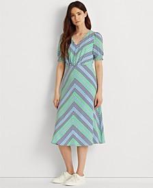 Striped Bubble-Sleeve Crepe Dress