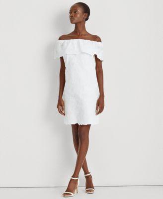 로렌 랄프로렌 Lauren Ralph Lauren Tulle Off-the-Shoulder Dress,Lauren White