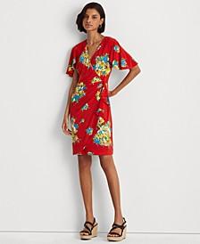 Floral Ruffle-Trim Jersey Dress