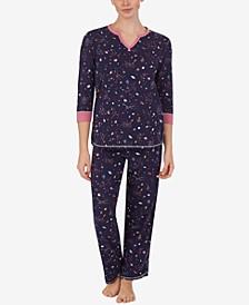 Split-Neck Top & Pajama Pants Set