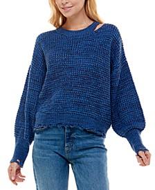 Ultra Fit Juniors' Destructed Cut-Out Sweater