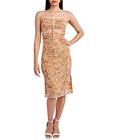 Printed Knit Cutout Tank Midi Dress