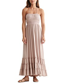 Cotton Embroidered Tiered Maxi Dress