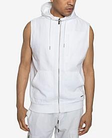 Men's Sleeveless Contrast Zip Up Hooded Sweatshirt