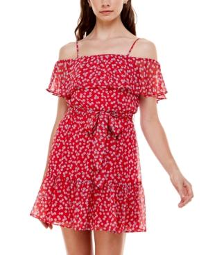 Juniors' Floral-Print Off-The-Shoulder Dress