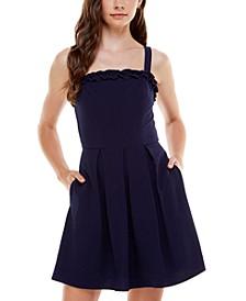 Juniors' Ruffled Fit & Flare Dress