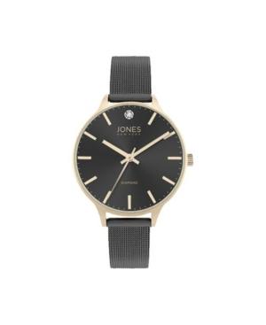 Jones New York Women's Genuine Diamond Gold-Tone Accents Black Metal Strap Analog Watch 33.5mm