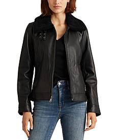Faux-Fur-Trim Leather Coat