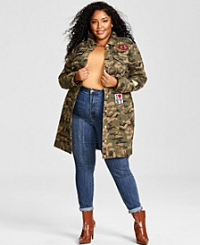 Trendy Plus Size Patched Camo-Print Jacket, Created for Macy's