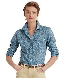 Floral Patch Pocket Buttoned Top