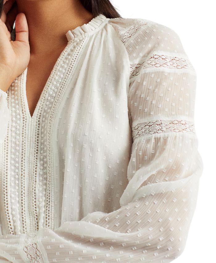 Lauren Ralph Lauren Polka-Dot Lace-Trim Dobby Dress & Reviews - Dresses - Women - Macy's