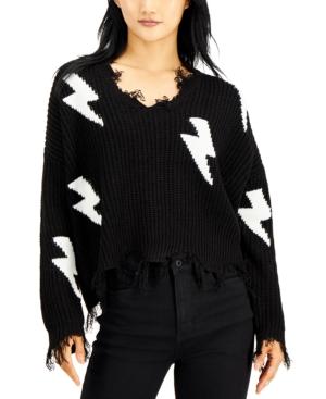 Juniors' Lightning Destructed V-Neck Sweater