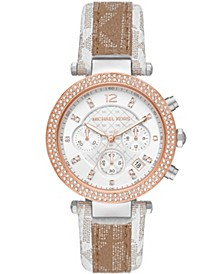 Women's Parker White and Camel Polyvinyl Chloride Patchwork Strap Watch 39mm