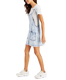 Juniors' Ripped Denim Overalls Dress