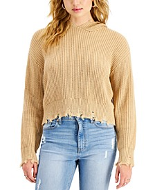 Juniors' Distressed Hooded Sweater
