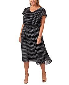 Plus Size Printed Smocked-Waist Midi Dress