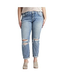 Plus Size Boyfriend Mid Rise Slim Leg Jeans