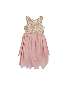 Little Girls Embroidered Bodice to Fairy Hem Skirt Dress