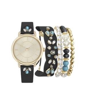 Women's Analog Black Jeweled Strap Watch 34mm with Matching Bracelets Set