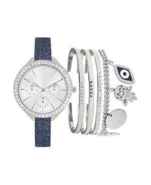 Women's Analog Navy Denim Strap Watch 40mm with Stackable Evil Eye Bracelets Cubic Zirconia Gift Set